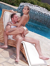 White lingerie leggy and thick statuesque brunette fucked outdoors